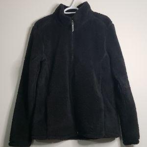 Cloud Veil Black Fluffy Fleece Jacket Size XL
